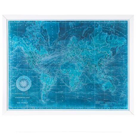 Azure World Map Print 130x100cm #freedomaw14