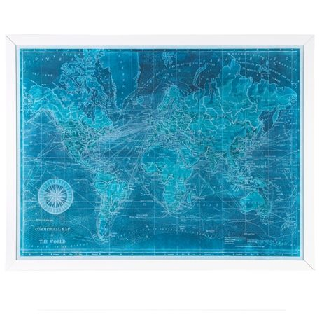 Azure World Map Print 130x100cm | Freedom Furniture and Homewares