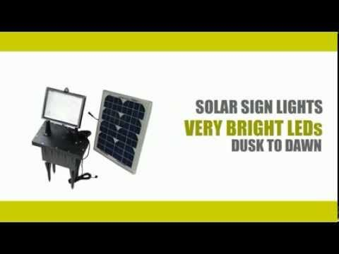 You can check our selection of solar flood lights and solar sign lights at http://www.greenlytes.com/solar-flood-lights/ They come with bright LEDs and generate a very crisp illumination. Greenlytes offer free shipping.