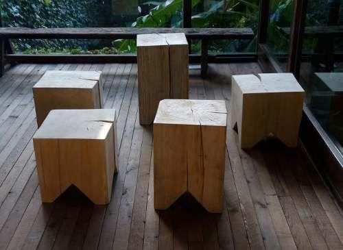 Bancos puff mesita de arrime decoraci n en madera for Bancos de madera ikea