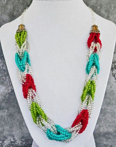 Turquoise, Brick and Lime Looped Seed Bead Necklace
