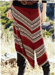Andean manta stripes are intriguingly skewed on the bias for the look of a faux-wrap skirt. Off-center seam; angular hem that dips from 26