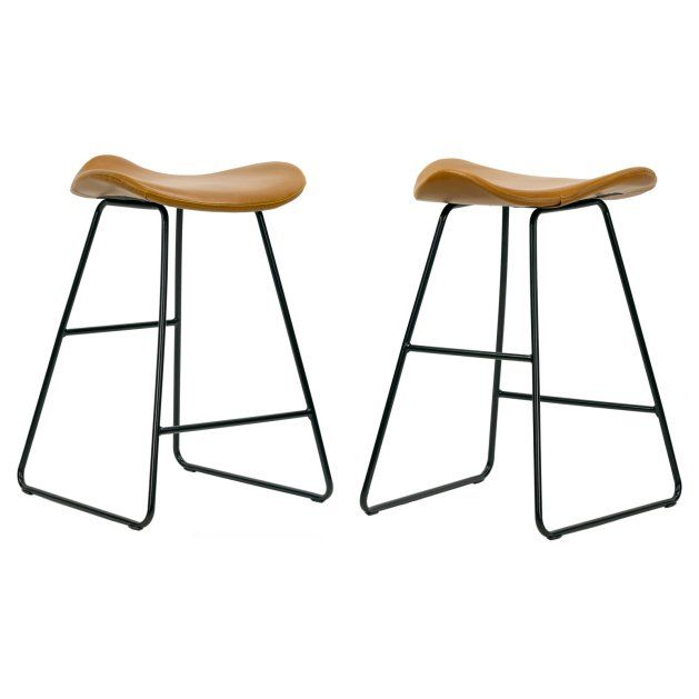 Glamour Home Aoi 24 In Upholstered Backless Counter Stool Set