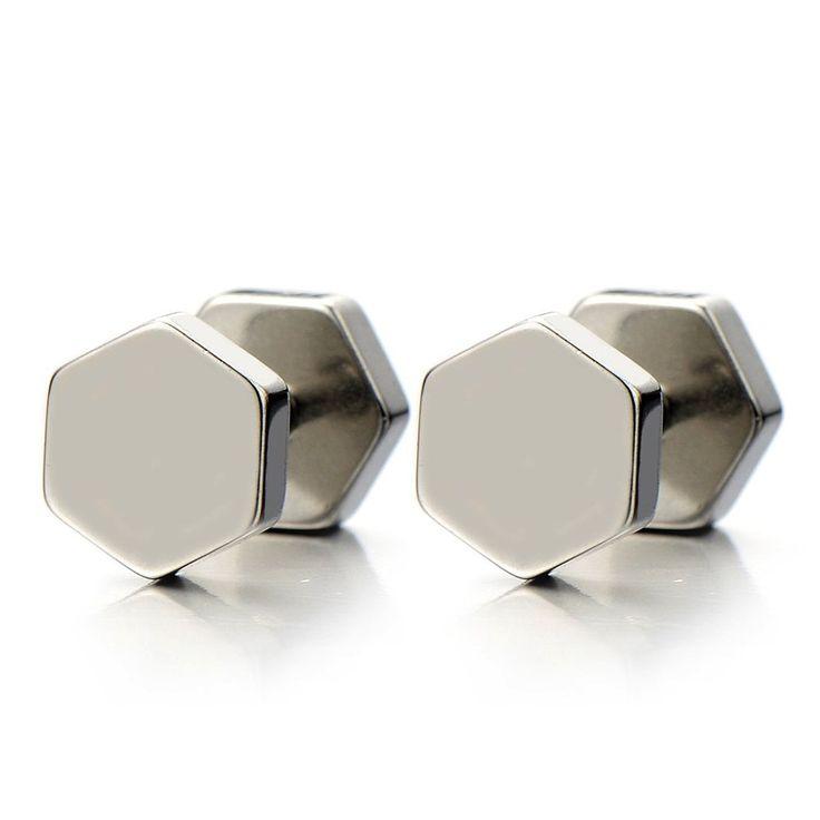 Amazon.com: 2pcs Hexagon Screw Stud Earrings for Men Women, Stainless Steel Cheater Fake Ear Plugs Illusion Tunnel: Jewelry