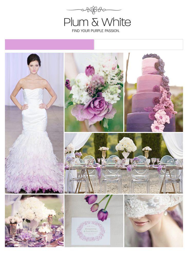 Plum purple white wedding inspiration board via Weddings Illustrated