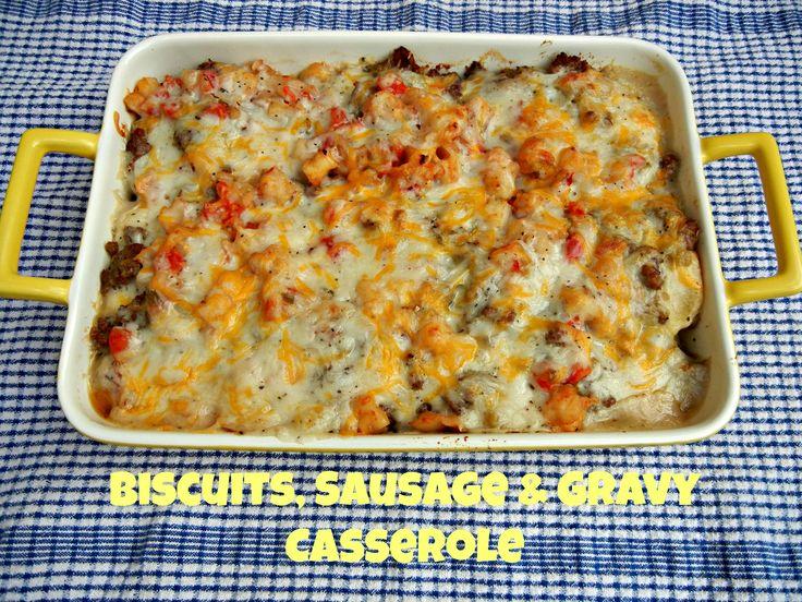 Biscuits, Sausage & Gravy Casserole on thetastyfork.com