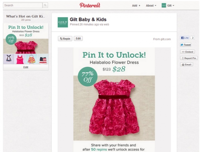 Marketing Idea: Special Offer To Pinterest Pinners
