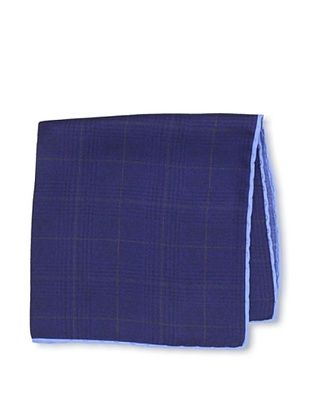 Desanto Men's Window Pane Pocket Square, Navy