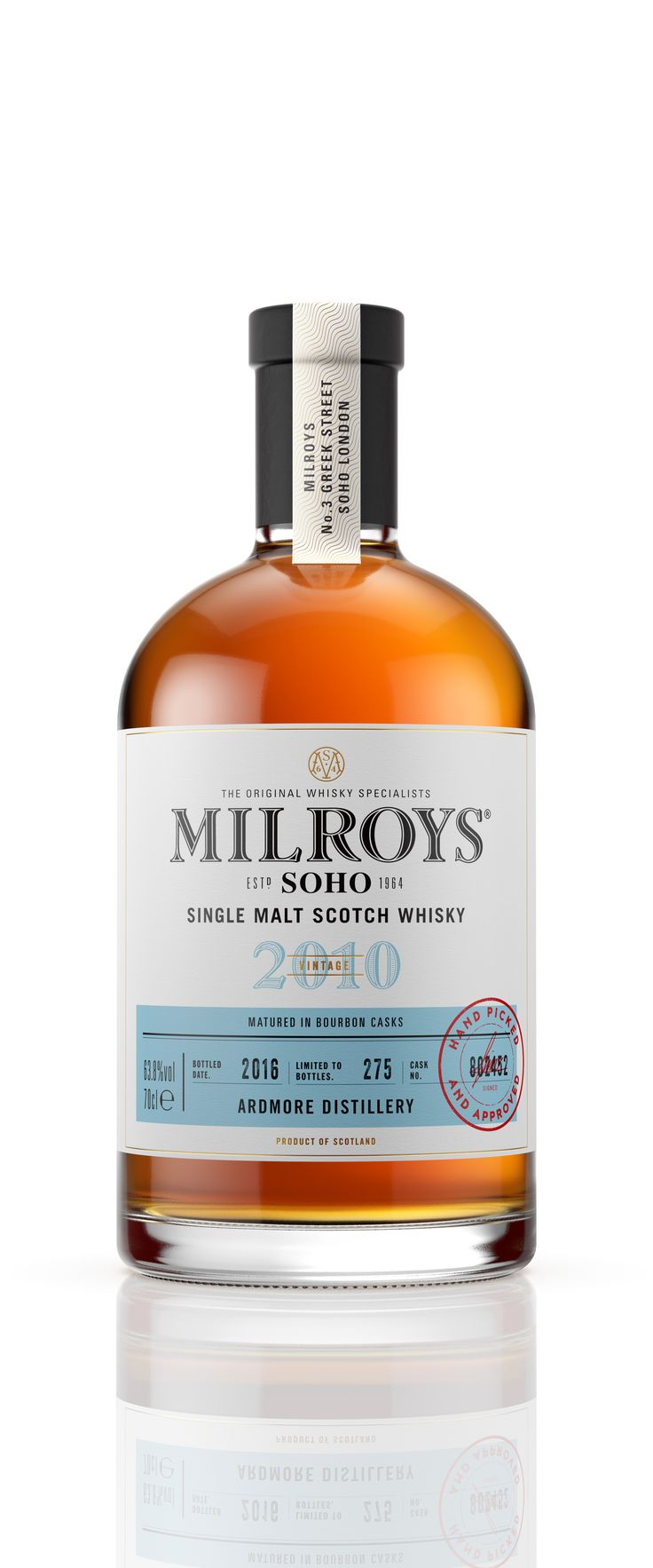 """Consultancy Good has designed the branding for whisky shop Milroys of Soho. The rebrand also includes a new interior for the brand's store on Greek Street in London's Soho, alongside a new website and four new whiskies. The new look aims to bring together the """"classic and the handcrafted"""", says the design studio."""