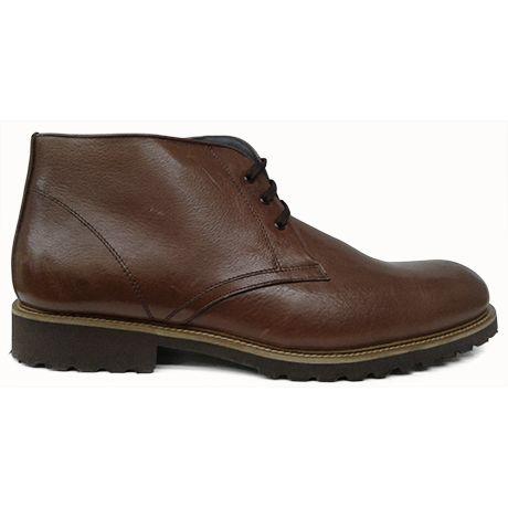Zapato botín liso en marrón con forro de Tex Alive y goma extraligera de Raimondo Maciotto vista lateral