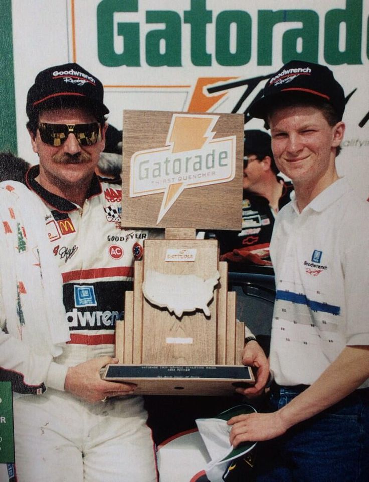 Dale Earnhardt absolutely dominated the Twin 125's in the 90's. Here he is with a young Dale Jr in Victory Lane.