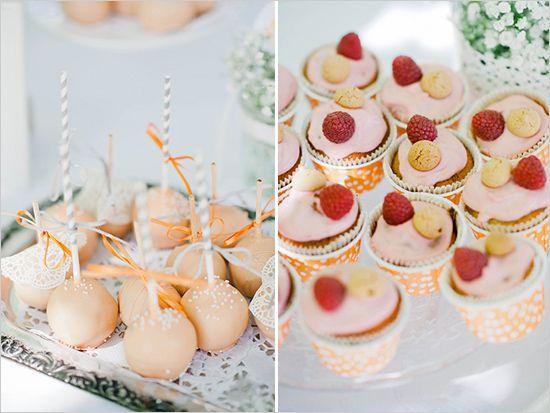 orange and pink wedding desserts