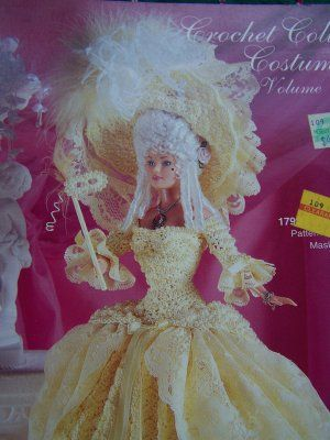 barbie crochet ball gown patterns free | Paradise Barbie Doll Crochet Pattern # 28 Ball Dress Gown Hat Mask ...