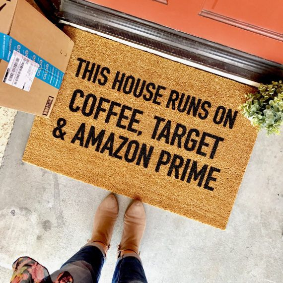 this house runs on coffee Target and Amazon Prime doormat by theCHEEKYdoormat - home decor, apartment decor, housewarming gift, cute doormat, funny doormat, welcome mat