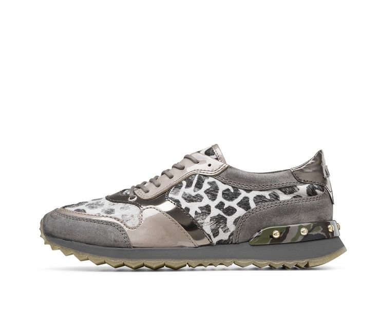 AGL FW16 - UPTOWN - Today's hottest animal print is giraffe, adding an original, ironic twist to ponyskin sneakers. Trim in different hides and colors, studs and a shark's tooth sole add to the rugged look of this shoe.