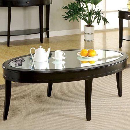 Silver Mist Contemporary Coffee Table In Dark Walnut Finish, Brown