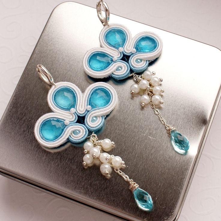 Wedding Earrings made of apatite, silver, pearls and quartz http://moniartbizu.blogspot.com/