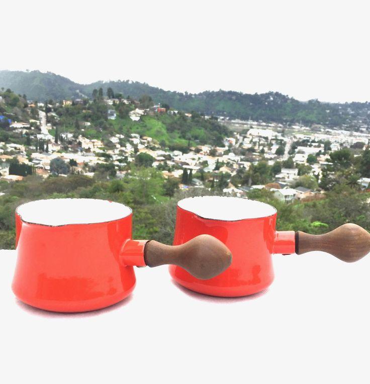 Pair of Dansk France Saucepans -  Red Orange Midcentury Enamelware - Kobenstyle by Jens Quistgaard by ProvinceShop on Etsy