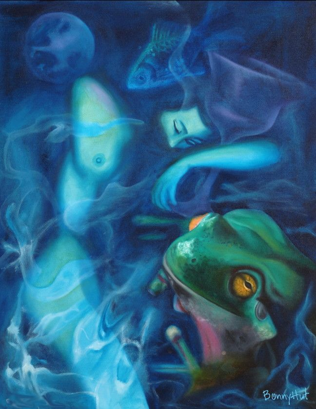 """An oil painting called """"Lake Song"""" by visionary artist, Bonny Hut. A sleeping woman holding a cup, in a lake or pond with a frog with subtle images of the moon and a fish in the background. The cup usually represents the element of water / emotions and the feminine. Water is often used as a metaphor or symbol for the unconscious / dreaming."""
