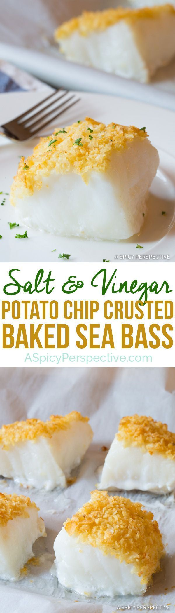 3-Ingredient Salt and Vinegar Potato Chip Crusted Baked Sea Bass Recipe (Healthy Fish and Chips!) | http://ASpicyPerspective.com