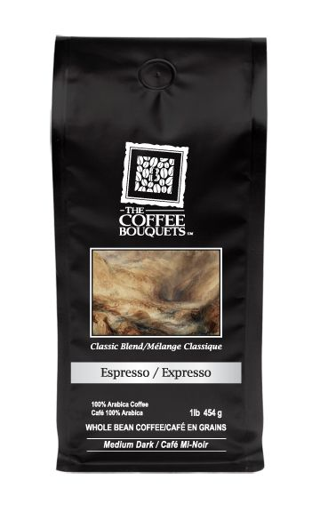 Espresso Classic - 100% Arabica Blend by The Coffee Bouquets.   Flavours of cardamom mingle with the undertones of toasted almonds and raw sugar cane. All are highlighted by the hint ripe plums and flourish together in this blend. This espresso brews a rich and creamy cup with a silky finish that leaves a satisfying aftertaste and is gentle on your palette. This bouquet is medium in acidity levels.  From $10/227 Gr. http://www.thecoffeebouquets.com/shop.asp