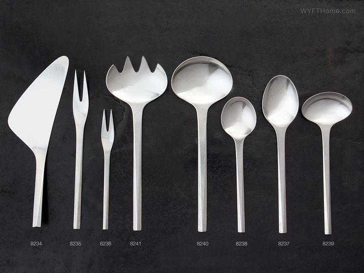 "Stainless Steel Cutlery ""Prisme"" by Danish silversmith Jørgen Dahlerup and designer Gert Holbek for Georg Jensen, Denmark designede in 1960."