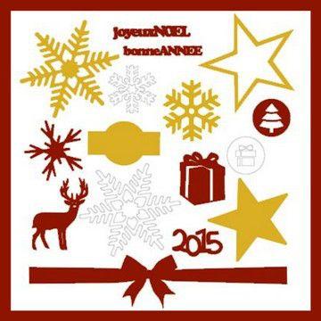 """Pack Noël """"Or & Bordeaux"""" sur www.mespetitesdecoupes.fr, boutique en ligne de découpes papier pour le scrapbooking"""