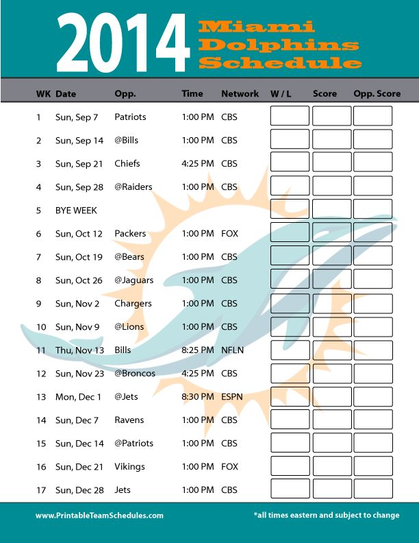 2014 Miami Dolphins Schedule