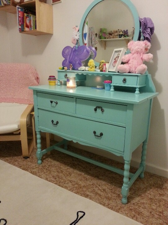 Antique dresser painted aqua blue. Was once my dresser when I was a little girl will use in big girl room