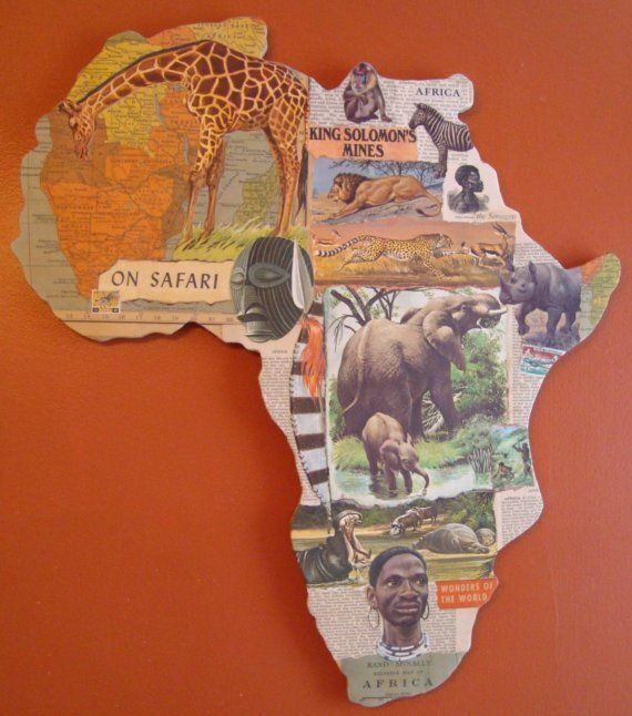 Great idea for continent puzzle maps - make a collage for the continent or for each country • This fun, interactive activity is a great tool to acquaint your child to the world. Simply make cut-outs of each continent and cut or print out pictures of things that represent each continent. If the base material is sturdy enough, you could seal it with decoupage. There are many great sites where you can get printable templates of the continents.