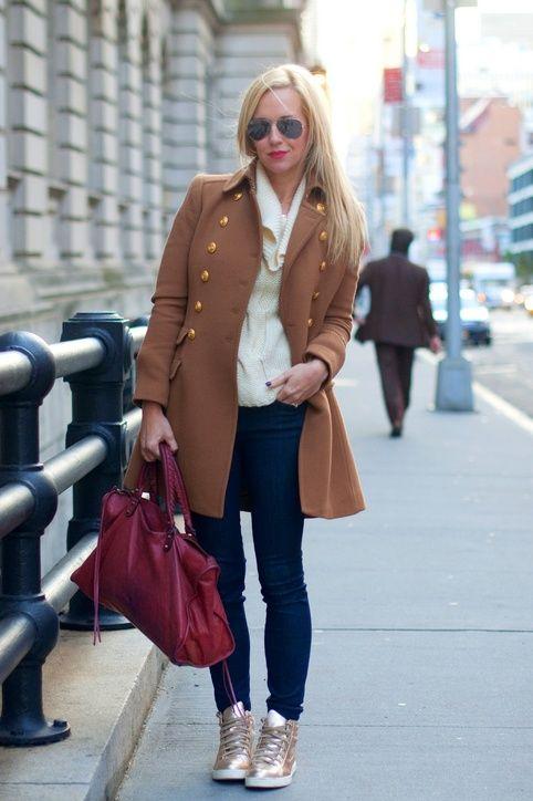 camel coat & jeans