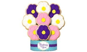 A delicious gift for Father's Day, cookie bouquets are baked fresh daily and hand-decorated with royal icing