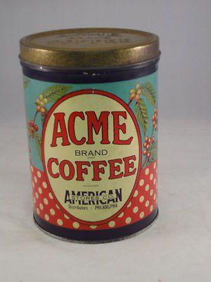 ACME BRAND VINTAGE COFFEE TINBrand Coffee, Antiques Collectibles Vintage, Coffee Tins, Acme Coffee, Coffee Cans, Acme Brand, Brand Vintage, Coffee Vintage, Advertising Tins