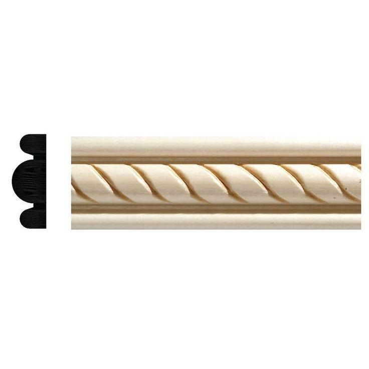 Ornamental Mouldings 1831 1/2 In. X 1 3/8 In. X 96 In. White Hardwood  Embossed Rope Detail Moulding