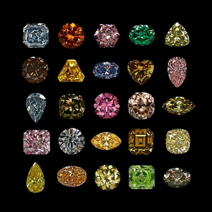 Colored diamonds make up only a tiny percentage of the diamonds found, but they come in a wide variety of shades. This is just a small sampling.