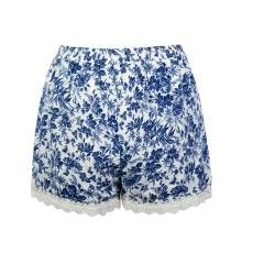 CHINA BLUE FLORAL WRAP SHORT WITH CROCHET TRIM