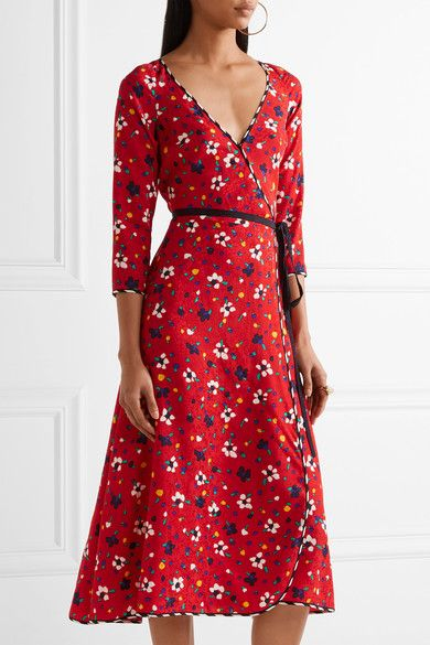 Marc Jacobs - Floral-print Silk-jacquard Wrap Dress - Red - US10