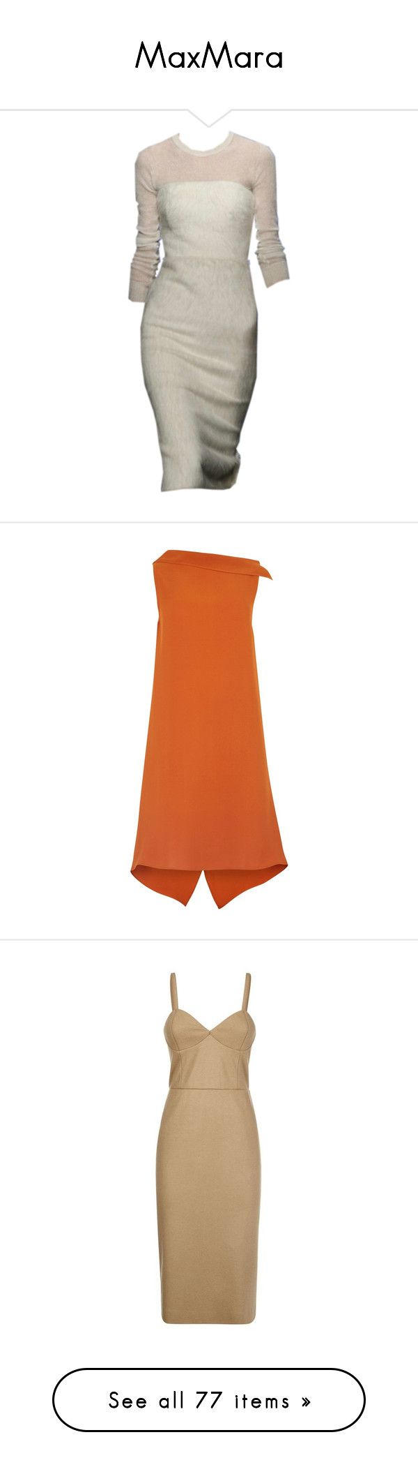 """""""MaxMara"""" by bliznec-anna ❤ liked on Polyvore featuring dresses, maxmara, skirts, draped cocktail dress, orange cocktail dress, maxmara dress, asymmetrical cocktail dress, below the knee dresses, below knee dresses and wool dress"""