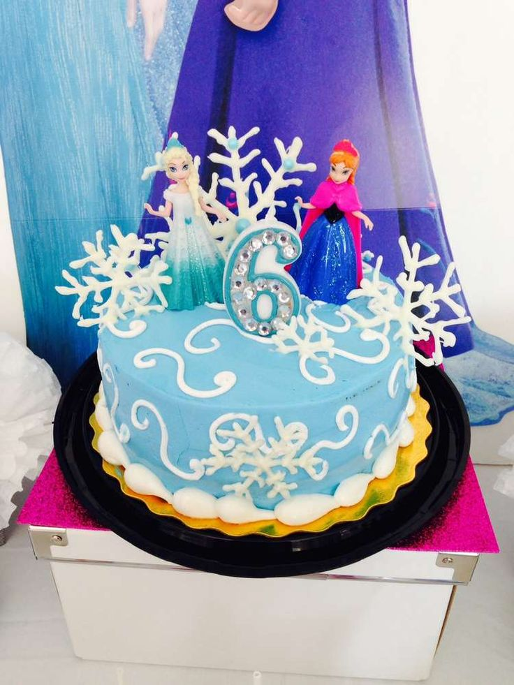 Pretty cake at a Frozen girl Birthday Party! See more party ideas at CatchMyParty.com!