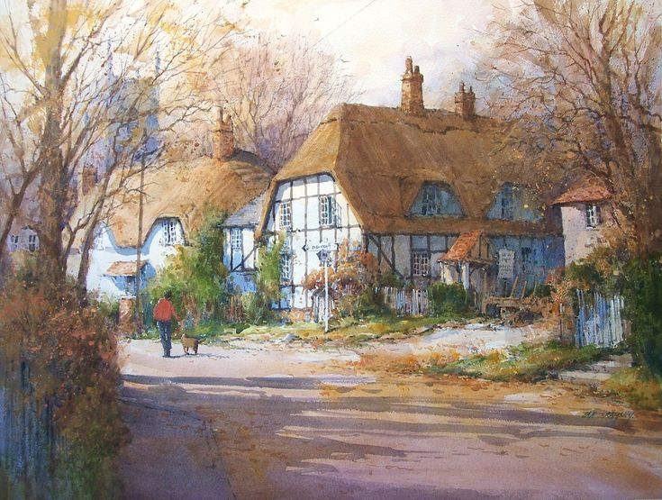 95 best ian ramsey watercolor artist images on pinterest for Watercolor cottages
