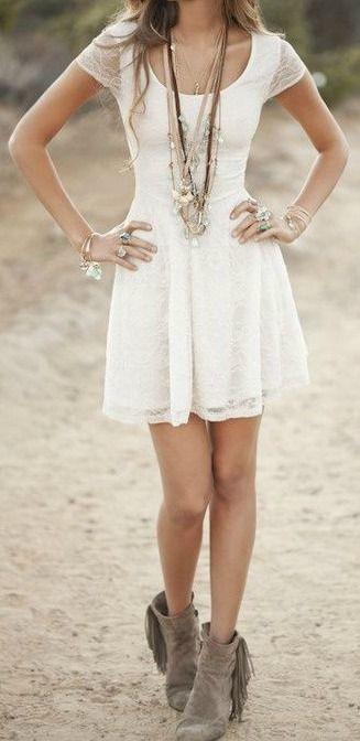 Boho Babe #festival #style #white dress