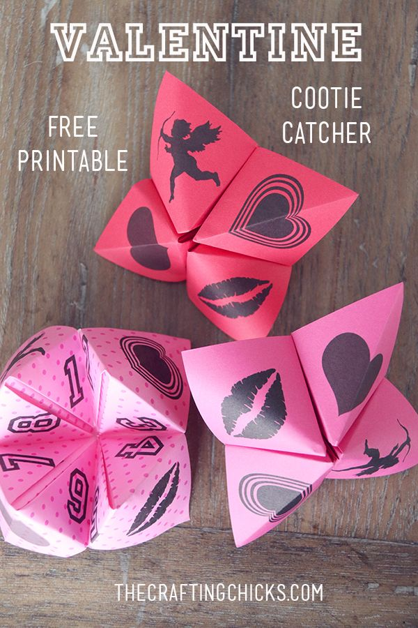 Cute Valentine Cootie Catchers for the kids to fold and make for one of the class activities. Free printable included.