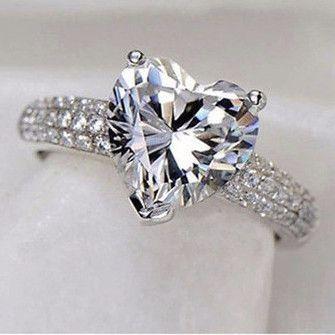 Elegant Heart Style 3 Carat CZ Diamond Ring