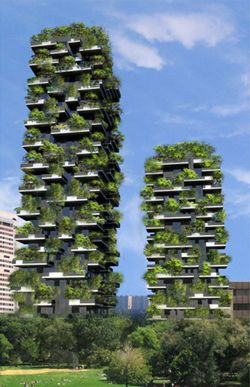 Bosco Verticale: An urban forest grows in Milan. Construction is underway on Stefano Boeri's Bosco Verticale ('Vertical Forest'), twin apartment towers in Milan with cantilevered balconies boasting pollution-trapping, energy-saving lush trees and other vegetation.