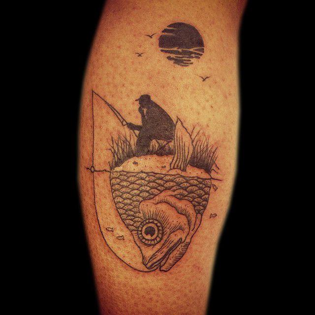 Fisherman tattoo by the very lyrical tattoo artist Olliet2 at Kaleidoscope Tattoo Studio in Bondi, Sydney