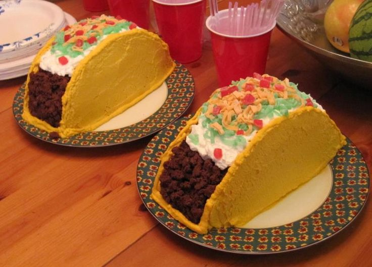"A friend invited us over for a taco party, so I decided to make 2 taco cakes for the occasion. To make the tacos, I baked two 9"" circle chocolate cakes.  I stacked the cakes, frosting in between, a..."