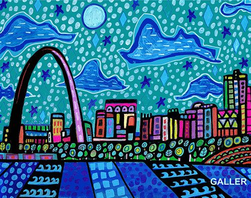 St. Louis Missouri Cityscape Art  Art Print Poster by Heather Galler Painting City Gateway Arch (HG847)