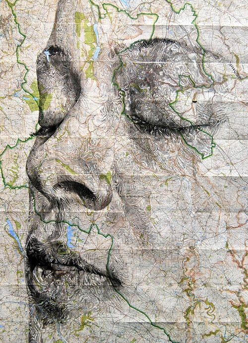 Map portraits drawings by artist Ed Fairburn this is one of my most favourite portraits because it isnt a very simple portrait but it almost tells a really deep story and shows alot of expressions on the woman's face, also the lines in the picture add to the story