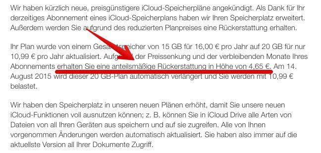Apple: Geld zurück dank neuer Apple iCloud Speicherpläne! - https://apfeleimer.de/2014/09/apple-geld-zurueck-dank-neuer-apple-icloud-speicherplaene - Geld zurück von Apple? Passend zur bevorstehenden iOS 8 Start mit der Einführung von iPhone 6 und iPhone 6 Plusändert Apple auch die iCloud Speicherpläne und damit die verbundenen Kosten fürbezahlte iCloud Speicher-Upgrades. Weiterhin bekommen AppleiCloud Nutzer 5 GB Speicher in der Apple Wolk...
