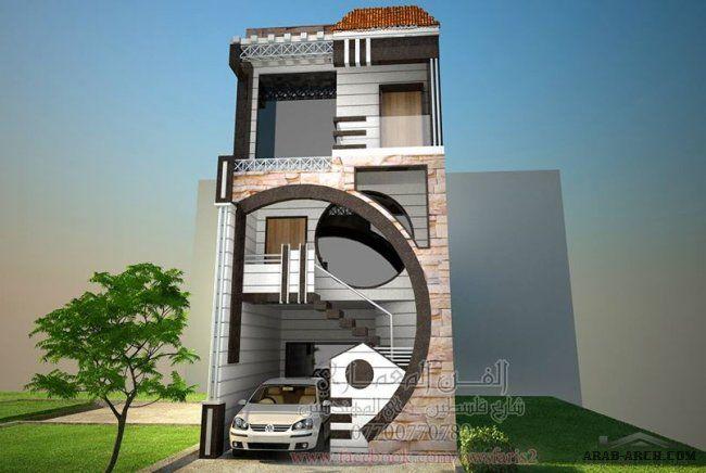 صميم واجهة بيت 5 متر مكون من ثلاث طوابق باستخدام الحجر والغرانيت الكالكسي الاسود مكتب الفن ال Village House Design Small House Design Exterior House Exterior